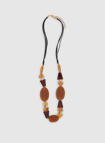 Long Bead Necklace, Brown, hi-res,  cord, necklace, long necklace, beads, fall 2019, winter 2019