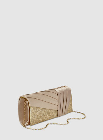 Pleated Detail Glitter Clutch, Gold,