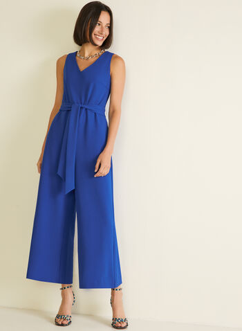 Belted Wide Leg Jumpsuit, Blue,  jumpsuit, sleeveless, crepe, v-neck, wide leg, belt, spring summer 2020