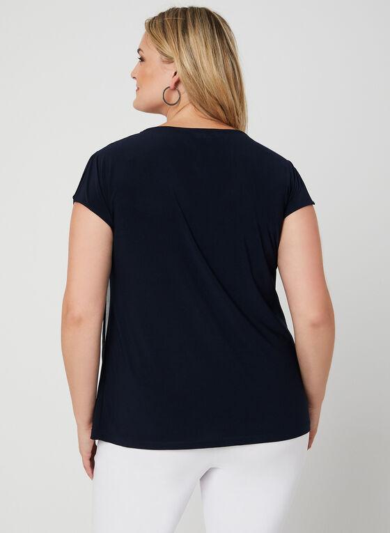Short Sleeve Chiffon Overlay Top, Blue, hi-res