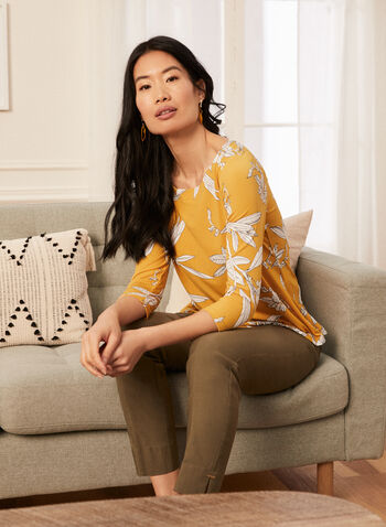 Floral Print 3/4 Sleeve Top, Yellow,  top, floral print, 3/4 sleeves, jersey, spring summer 2020