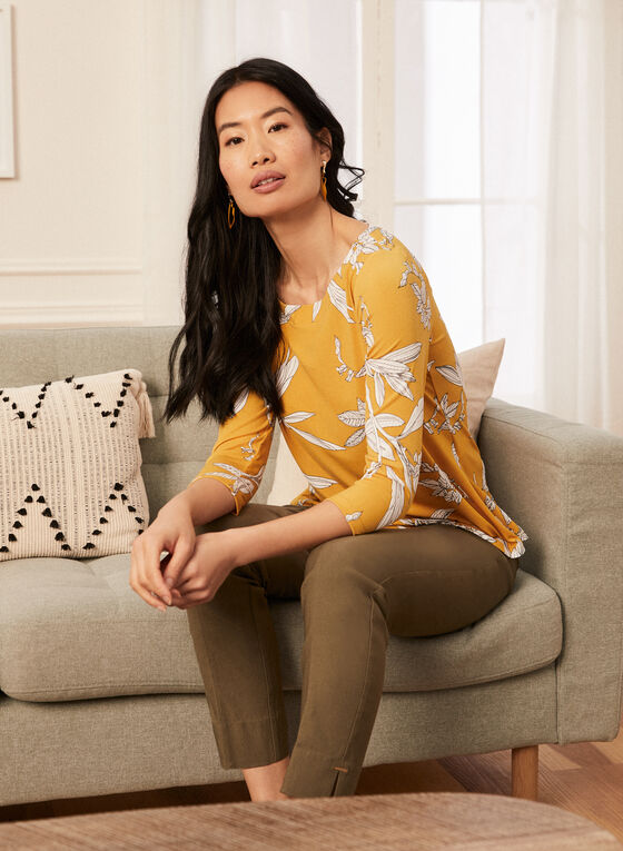 Floral Print 3/4 Sleeve Top, Yellow
