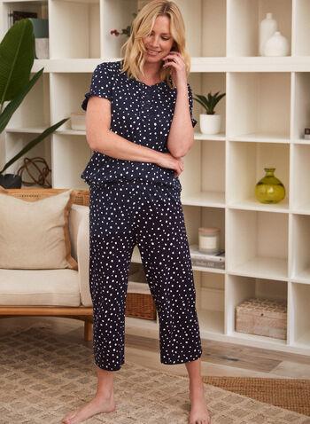 Polka Dot Pyjama Set, Blue,  spring summer 2021, made in Canada, sleepwear, pj, pyjama, set, tee, capris, ruffle, henley, buttons, pull-on, elastic waist, cotton, polka dot, dot print