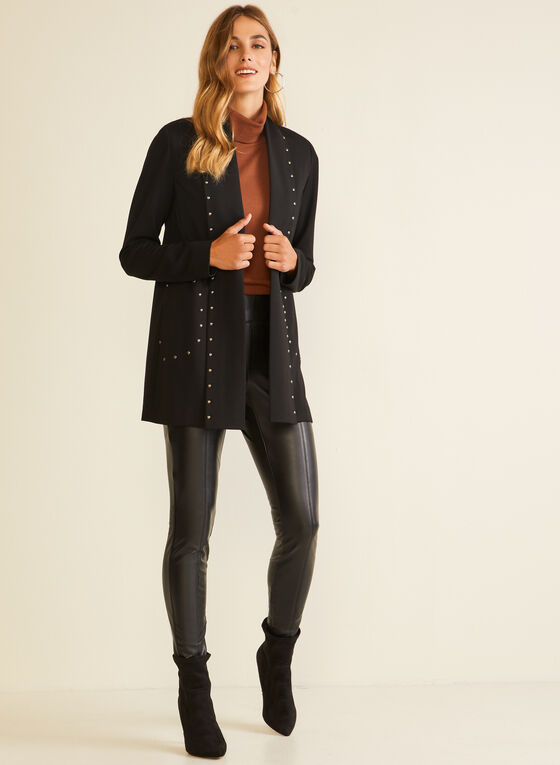 Open Front Stud Detail Jacket, Black