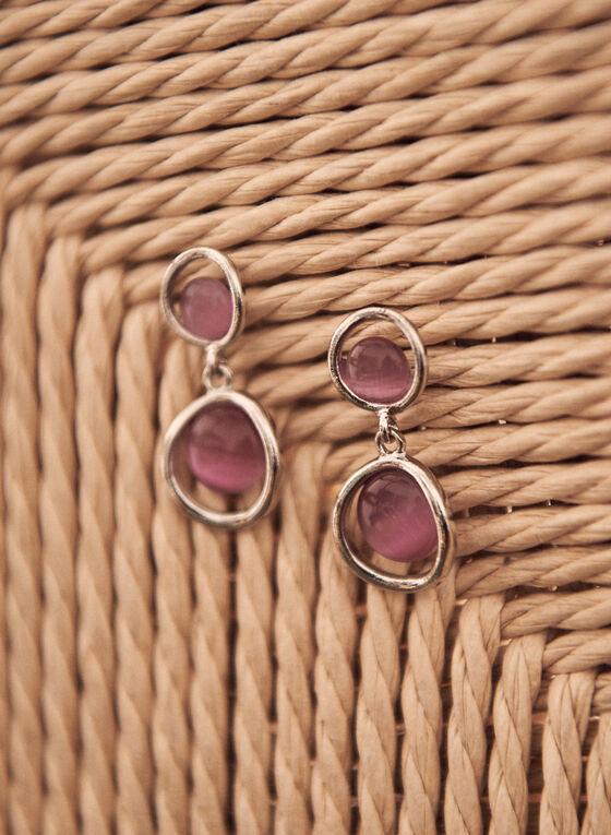 Two Tier Stone Dangle Earrings, Pink