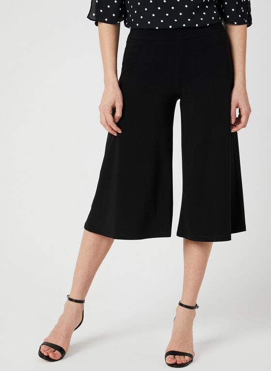 Capri pull-on à jambe large, Noir