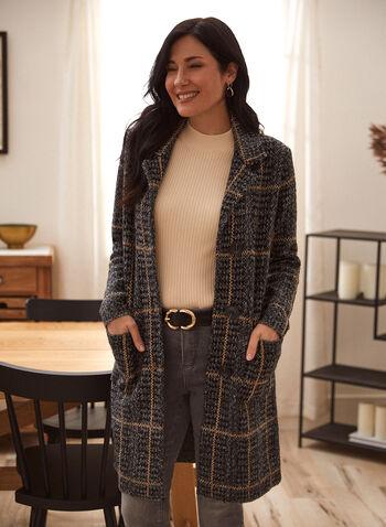 Veste cardigan motif pied-de-poule, Noir,  veste, cardigan, pied-de-poule, col chemisier, poches, automne hiver 2020