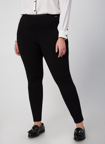 Legging en point de Rome, Noir,  legging, point de Rome, pull-on, automne hiver 2019