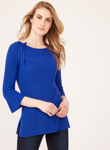 Pull en tricot avec détail lacet et manches cloche ¾, Bleu, hi-res
