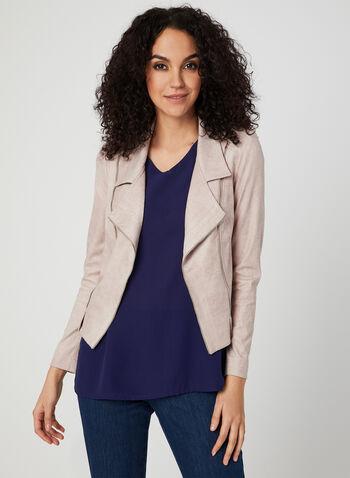Vex - Open Front Faux Suede Jacket, Pink,  moto, zipper, spring 2019