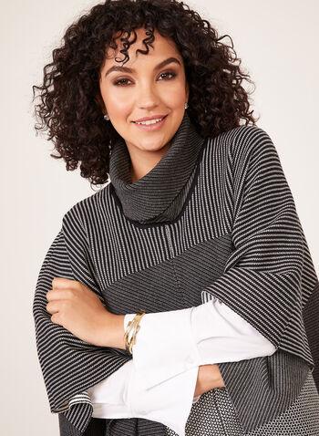 Alison Sheri  - Cowl Neck Poncho, Black, hi-res