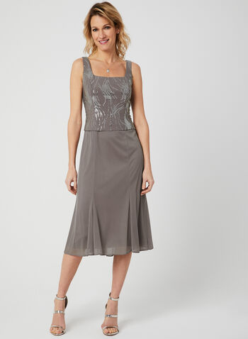 Alex Evenings - Robe à corsage en sequins et cardigan , Gris, hi-res