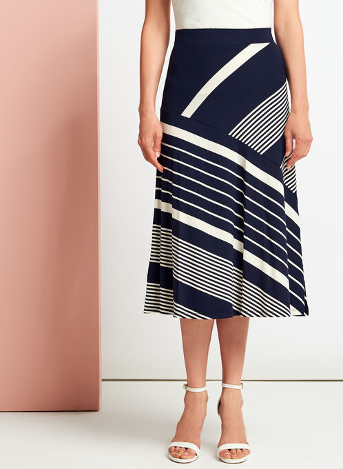 Graphic Stripe Print Midi Skirt, Blue, hi-res