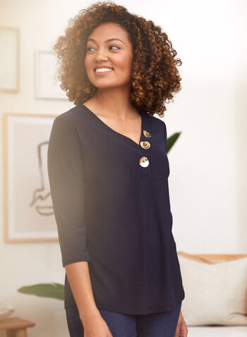 3/4 Sleeve V-Neck Sweater, Blue,  fall winter 2021, made in canada, sweater, top, tunic, shirt, blouse, 3/4 sleeves, v neckline, buttons, decorative buttons, textured, gold buttons, crepe, knit, fabric