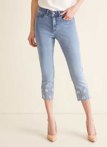 Embroidered Capri Jeans, Blue,  jeans, capris, pants, straight leg, straight leg jeans, embroidery, spring 2020, summer 2020