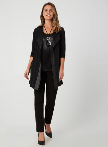 Faux Leather Trim Cardigan, Black, hi-res,  blazer, open-front top, edge-to-edge cardigan