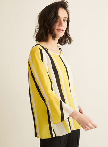 Striped Bell Sleeve Blouse, Yellow,  top, blouse, striped, scoop neck, 3/4 sleeves, bell sleeves, crepe, keyhole, spring summer 2020