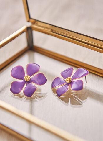Flower Button Earrings, Purple,  spring 2021, jewelry, jewellery, earrings, accessories, pushback closure, flower, floral, epoxy, detail, button