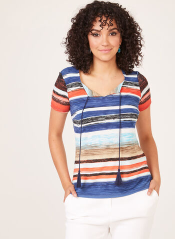 Stripe Print Jersey T-Shirt, Red, hi-res