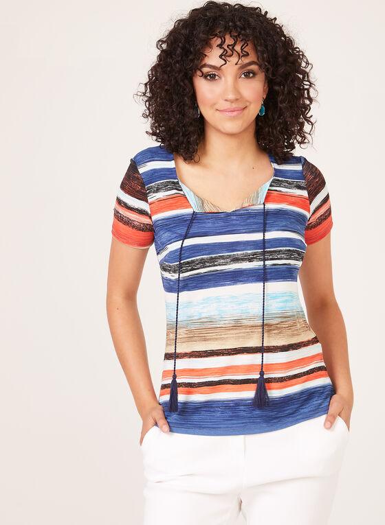 T-shirt rayé à col tunisien et lacet à pompon, Rouge, hi-res
