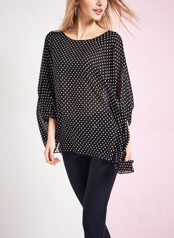 3/4 Sleeve Polka Dot Print Blouse , Black, hi-res