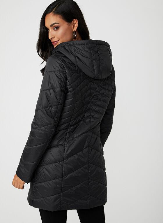 Manteau matelassé compressible à capuchon, Noir, hi-res