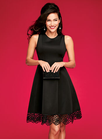 Fit & Flare Scuba Dress, Black, hi-res