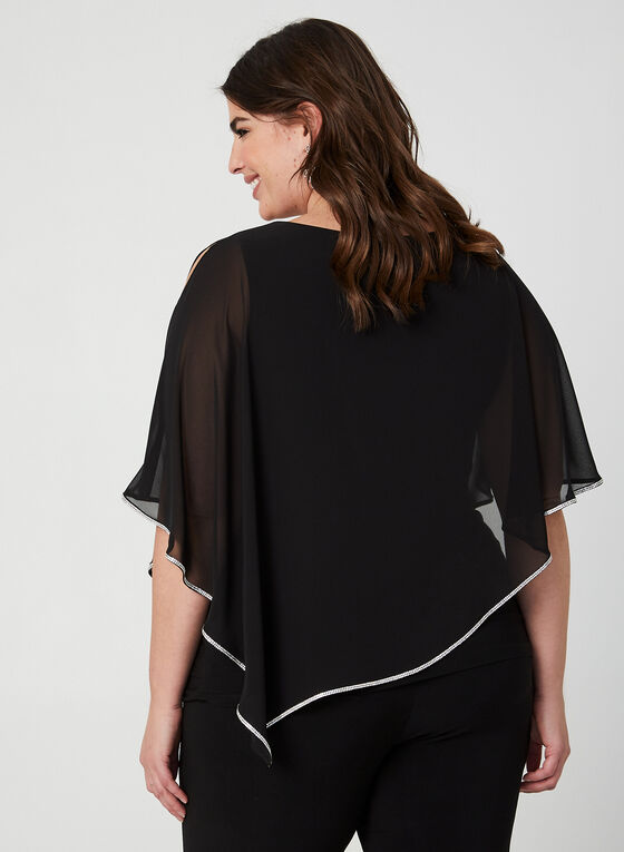 Frank Lyman - Crystal Trim Poncho Blouse, Black