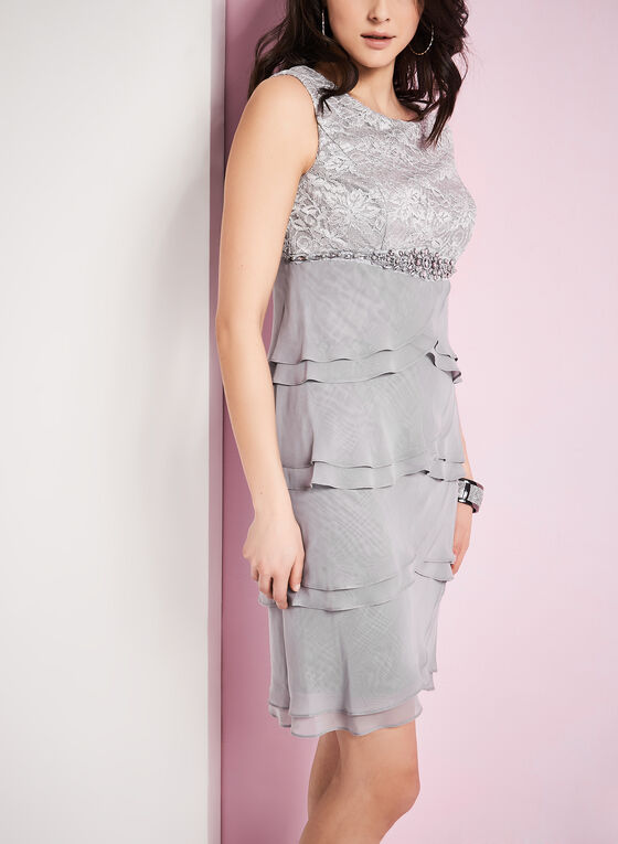 Lace & Chiffon Dress with Scarf , Silver, hi-res