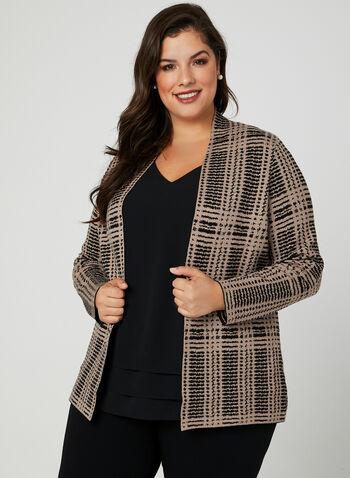 Cardigan en tricot à motif abstrait, Noir, hi-res