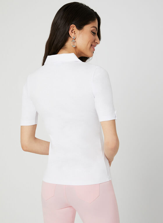 Polo avec poches poitrine, Blanc