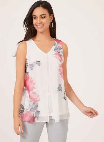 Floral Print Sleeveless Capelet Blouse, White, hi-res