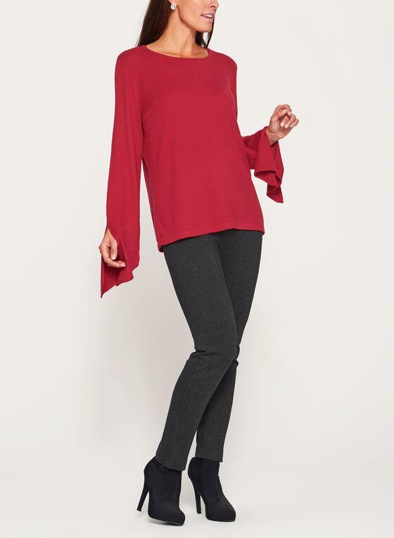 Scoop Neck Tie Sleeve Sweater, Red