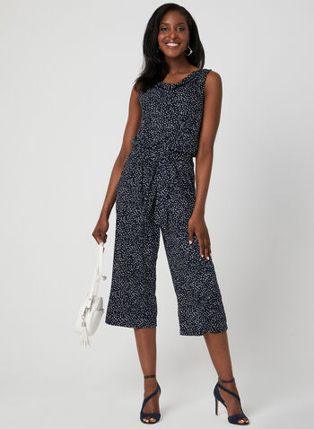 Emma & Michele - Dot Print Jumpsuit, Blue, hi-res
