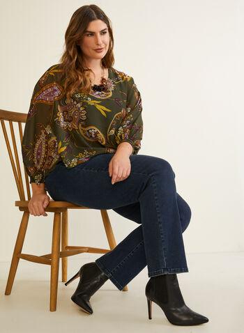 Paisley Print Asymmetric Blouse, Green,  top, blouse, chiffon, paisley, asymmetric, fall winter 2020