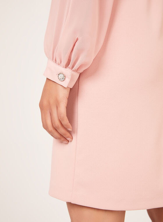 Chiffon Sleeve Crepe Dress, Pink, hi-res