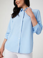 Contrast Stitch Long Sleeve Blouse, Blue, hi-res