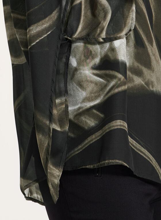 Blouse poncho à motif abstrait à manches ange ¾, Noir, hi-res