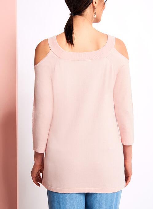 Pointelle Detail Cold Shoulder Sweater, Pink, hi-res