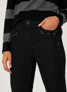 Simon Chang – Signature Fit Crystal Embroidery Jeans, Black, hi-res
