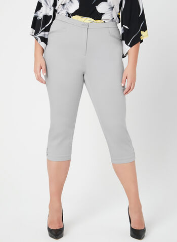 Signature Fit Straight Leg Capri Pants, Grey, hi-res,  sateen, spring 2019