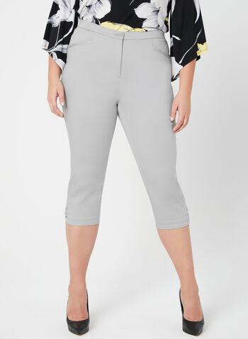 Capri coupe signature à jambe droite, Gris, hi-res,  satinette, printemps 2019, détail, œillet, coton