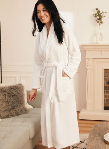 Belted Fleece Robe , White,  fall winter 2020, robe, fleece, belt, pyjama