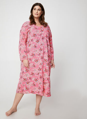 Hamilton - Floral Print Cotton Nightgown, Pink,  nightgown, floral, long sleeves, cotton, fall winter 2019