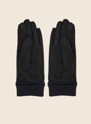 Gloves with Faux Suede and Faux Leather, Black,  fall winter 2020, gloves, faux suede, accessory, faux leather, vegan leather, knit, gift, holiday, holiday 2020