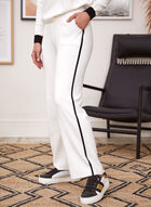 Contrast Trim Pull-On Pants, White
