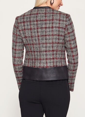 Vex - Bouclé Plaid & Faux Leather Trim Jacket, Grey, hi-res