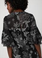 Robe en mousseline à motif floral, Noir, hi-res