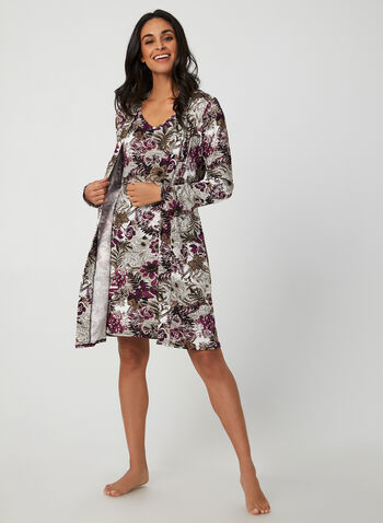 Hamilton - Floral Robe & Nightgown, Black, hi-res,  Canada, Hamilton, robe, nightgown, sleepwear, pyjama, floral, fall 2019, winter 2019