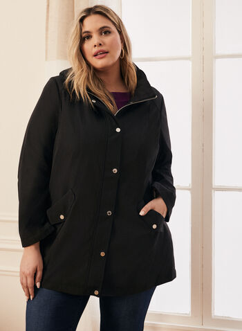 Removable Hood Raincoat, Black,  coat, raincoat, rainwear, hood, zipper, button, pockets, high collar, spring summer 2020